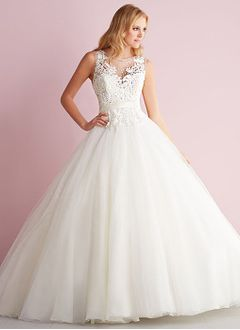 Ball-Gown Scoop Neck Chapel Train Satin Tulle Wedding Dress With Beading Appliques Lace