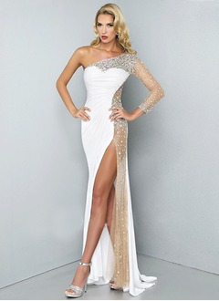 Sheath/Column One-Shoulder Sweep Train Jersey Evening Dress With Beading Split Front