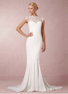 Trumpet/Mermaid Scoop Neck Sweep Train Chiffon Lace Wedding Dress
