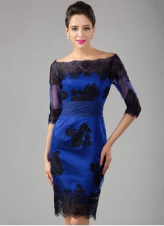 Sheath/Column Off-the-Shoulder Knee-Length Charmeuse Cocktail Dress With Lace Appliques Lace