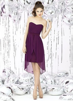 Sheath/Column Strapless Sweetheart Asymmetrical Chiffon Bridesmaid Dress With Ruffle Sash Cascading Ruffles