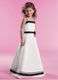 A-Line/Princess Strapless Floor-Length Organza Satin Flower Girl Dress With Sash