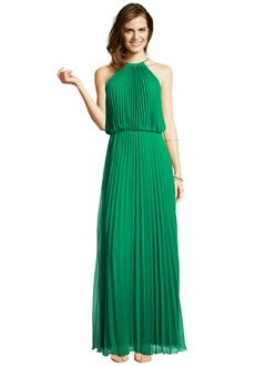 A-Line/Princess Halter Floor-Length Chiffon Prom Dress With Pleated
