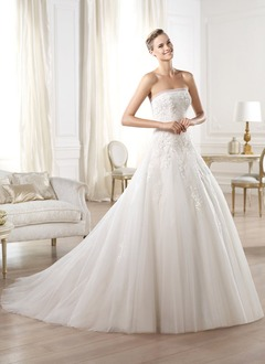 Ball-Gown Strapless Chapel Train Tulle Lace Wedding Dress With Ruffle Beading