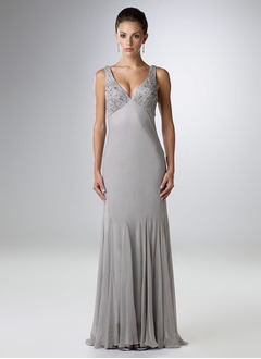 Trumpet/Mermaid V-neck Floor-Length Chiffon Charmeuse Mother of the Bride Dress With Beading