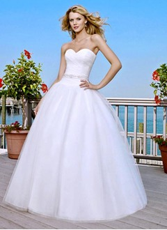 Ball-Gown Strapless Sweetheart Court Train Organza Satin Wedding Dress With Ruffle Beading