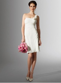 Sheath/Column One-Shoulder Knee-Length Chiffon Wedding Dress With Ruffle Flower(s)