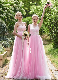 A-Line/Princess V-neck Floor-Length Tulle Bridesmaid Dress With Lace Appliques Lace