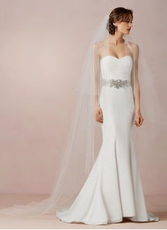 Trumpet/Mermaid Strapless Sweetheart Court Train Satin Wedding Dress With Sash Beading