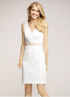 Sheath/Column V-neck Short/Mini Lace Cocktail Dress With Sash