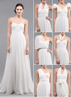 Empire Strapless Sweetheart Sweep Train Chiffon Bridesmaid Dress With Ruffle