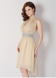 A-Line/Princess Halter Asymmetrical Chiffon Homecoming Dress With Ruffle Beading