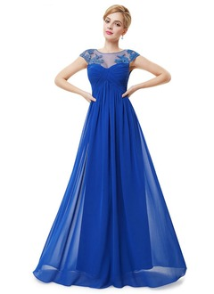 Empire Scoop Neck Floor-Length Chiffon Prom Dress With Appliques Lace