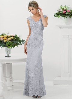 A-Line/Princess Scalloped Neck Floor-Length Lace Mother of the Bride Dress With Beading Appliques Lace