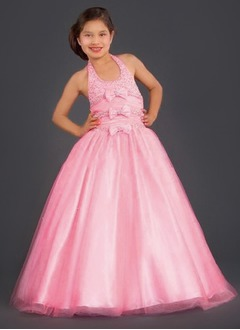 A-Line/Princess Halter Floor-Length Taffeta Tulle Flower Girl Dress With Ruffle Beading