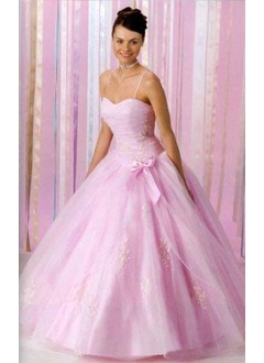 Ball-Gown Sweetheart Floor-Length Tulle Quinceanera Dress With Ruffle Beading Bow(s)