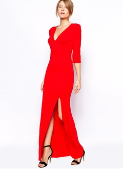 Sheath/Column V-neck Floor-Length Jersey Evening Dress With  ...