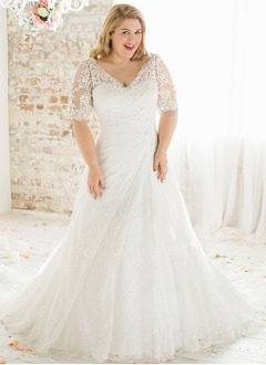 A-Line/Princess V-neck Chapel Train Organza Lace Wedding Dress With Ruffle Beading