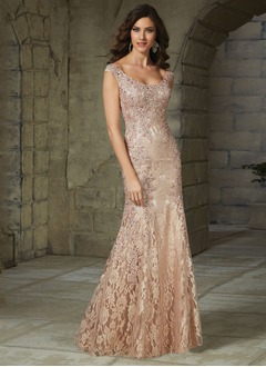 Trumpet/Mermaid Scoop Neck Sweep Train Charmeuse Lace Evening Dress With Beading