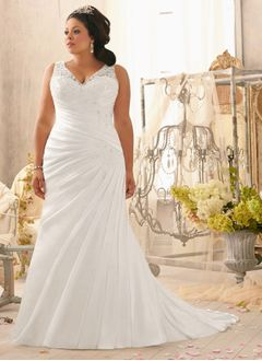 Sheath/Column V-neck Court Train Satin Wedding Dress With Ruffle Lace Beading