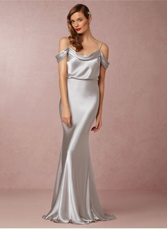 Trumpet/Mermaid Cowl Neck Sweep Train Charmeuse Evening Dress With Ruffle Cascading Ruffles