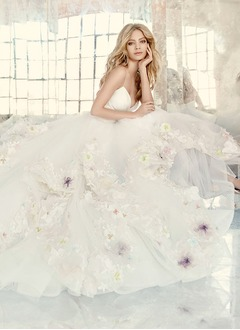 Ball-Gown V-neck Court Train Taffeta Tulle Wedding Dress With Appliques Lace