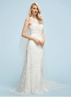 Sheath/Column Scoop Neck Chapel Train Lace Wedding Dress