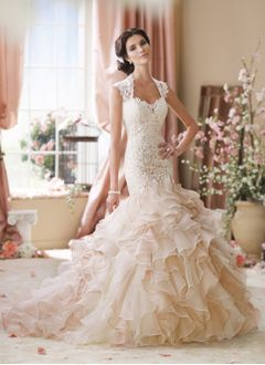 Trumpet/Mermaid Sweetheart Court Train Organza Lace Wedding Dress With Appliques Lace Cascading Ruffles