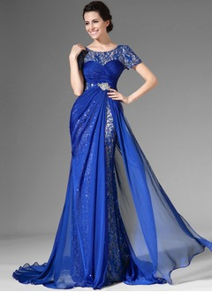 Trumpet/Mermaid Scoop Neck Sweep Train Chiffon Lace Evening Dress With Ruffle Beading Sequins