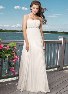 Empire Strapless Sweetheart Court Train Chiffon Wedding Dress With Beading Sequins Pleated