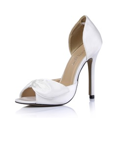 Women's Silk Like Satin Stiletto Heel With Bowknot  ...
