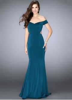 Trumpet/Mermaid Sweetheart Off-the-Shoulder Sweep Train Charmeuse Evening Dress