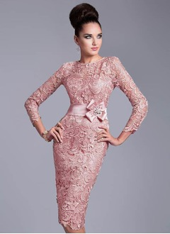 Sheath/Column Scoop Neck Knee-Length Charmeuse Lace Evening Dress With Beading Flower(s)