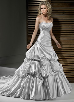 A-Line/Princess Sweetheart Cathedral Train Satin Wedding Dress With Ruffle Beading Appliques Lace