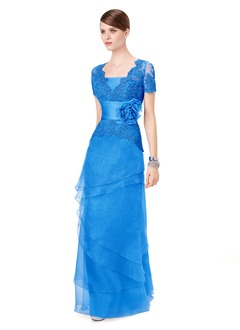 Sheath/Column V-neck Square Neckline Floor-Length Organza Satin Lace Evening Dress With Lace Flower(s) Cascading Ruffles