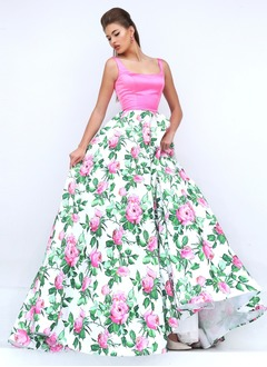 Ball-Gown Square Neckline Sweep Train Satin Prom Dress
