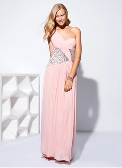 A-Line/Princess One-Shoulder Sweep Train Chiffon Prom Dress  ...