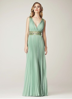 A-Line/Princess V-neck Floor-Length Chiffon Tulle Evening Dress With Lace Beading Pleated