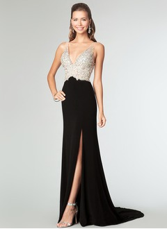 Sheath/Column V-neck Court Train Chiffon Tulle Evening Dress With Beading Split Front
