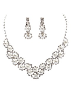 Shining Alloy With Pearl Ladies' Jewelry Sets