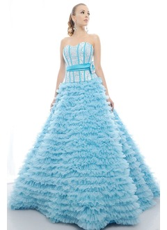 Ball-Gown Strapless Sweetheart Floor-Length Tulle Sequined Prom Dress With Crystal Brooch