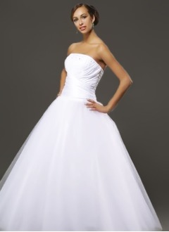 Ball-Gown Strapless Floor-Length Taffeta Tulle Quinceanera Dress With Ruffle Beading