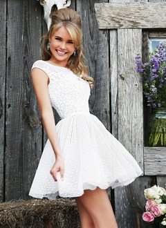 A-Line/Princess Scoop Neck Short/Mini Tulle Lace Prom Dress