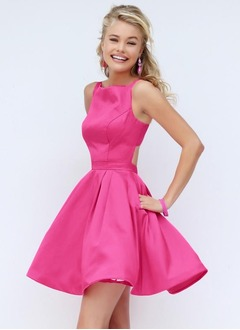 A-Line/Princess Square Neckline Short/Mini Satin Homecoming Dress With Ruffle