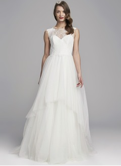 A-Line/Princess Scoop Neck Sweep Train Tulle Lace Wedding Dress With Cascading Ruffles