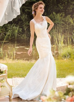 Trumpet/Mermaid Sweetheart Court Train Satin Lace Wedding Dress