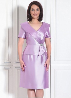 A-Line/Princess V-neck Knee-Length Charmeuse Mother of the Bride Dress With Beading