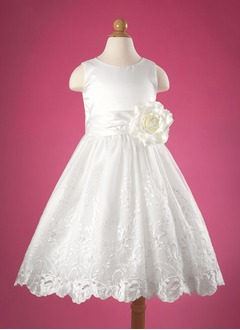 A-Line/Princess Scoop Neck Floor-Length Organza Satin Flower Girl Dress With Lace