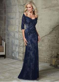 Trumpet/Mermaid Off-the-Shoulder Sweep Train Lace Mother of the Bride Dress With Beading