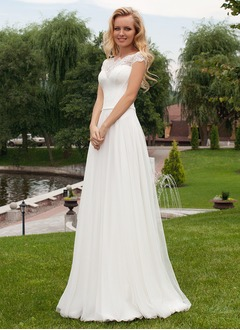 A-Line/Princess Off-the-Shoulder Sweep Train Chiffon Lace Wedding Dress With Beading